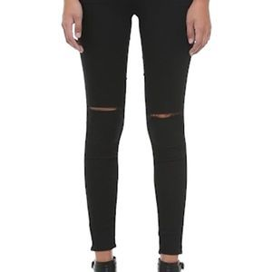 Topshop Moto Leigh Distressed black jeans 30